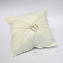 Butterfly Satin Ring Pillow With Organza Sash - Ivory