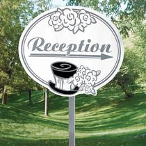 Cardboard Wedding Reception Show The Way Sign