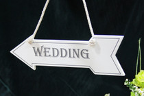 "White Wooden Hanging Arrow ""Wedding"""