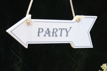 """White Wooden Hanging Arrow """"Party"""""""