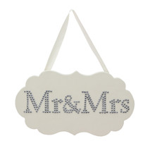 Amore MDF Plaque With Crystals 28cm x 16cm Mr. And Mrs.