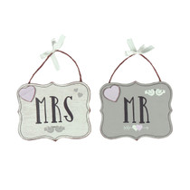 Love Story Pair Hanging Plaques Mr. And Mrs.'