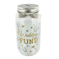 Pennies And Dreams Glass Money Box Jar Wedding Fund