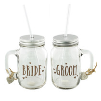 Love Story Mason Jar Drinking Glasses Set of 2 'Bride And Groom'