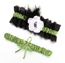 Green And Black Garter Set
