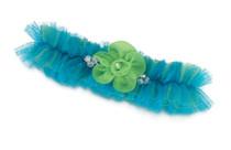 Blue Green Tulle Garter