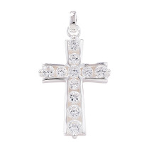 Sterling Silver CZ Cross And Chain including Gift Box