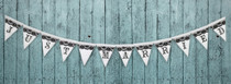 Just Married Black White Banner