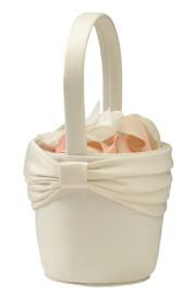Satin Flower Basket Ivory