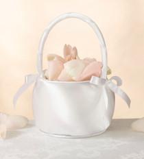 Satin Flower Basket off White