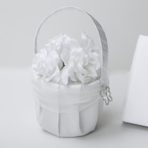 Butterfly Satin Flower Basket With Organza Sash - White