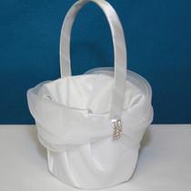Rhinestone Flower Basket - White