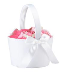 Large Round Flower Basket White
