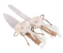 Burlap And Lace Knife And Server