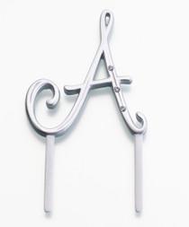 Silver Rhinestone Monogram Small Letter A