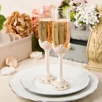 Vintage Design Antique Ivory Set of Champagne Toasting Glasses