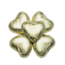 100 Solid Milk Chocolate Hearts Gold