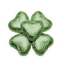 100 Solid Milk Chocolate Hearts in Lime Green