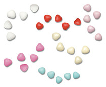 1kg Box of Chocolate Heart Dragees Sweets 1cm Baby Blue