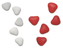 1kg Chocolate Heart Dragees 3cm Red