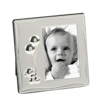 Silver Plated Satin Baby Frame Teddy Holding Balloons 3x4