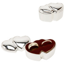 Sophia Silver Plated Ring Box Double Hearts