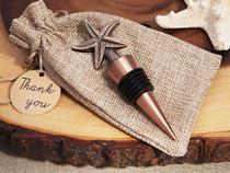 Vintage Starfish Bottle Stopper In Rustic Burlap Gift Bag