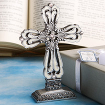 Pewter Colour Cross Statue With Ivory Enamel inlay