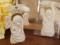 Dazzling Madonna Cross Ornament With Ivory Ribbon