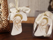 Unique Hanging Cross Ornament With Ivory Ribbon