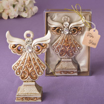 Antique Ivory Angel Statue With A Matte Gold Filigree Detailing From White Dream