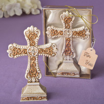Antique Ivory Cross Statue With A Matte Gold Filigree Detailing From White Dream