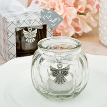 Angel Themed Clear Glass Round Globe Candle Holder From White Dream