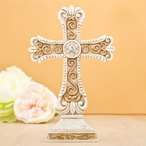 Antique Design Cross Statue in Ivory And Matte Gold From White Dream