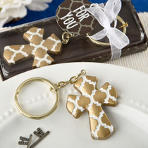 Gold Cross Key Chain With A Hampton Link Design From White Dream
