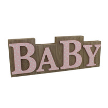 Petit Cheri' MDF Plaque Wood And Pink Polka Lettering Baby