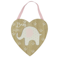 Petit Cheri' Collection MDF Heart Plaque With Elephant Pink