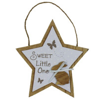 Petit Cheri' Collection MDF Star Plaque Sweet Little One Blue