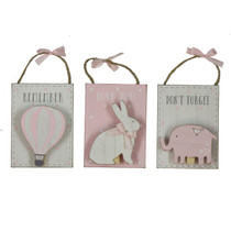 Petit Cheri' Set of 3 MDF Pegs Clips Pink