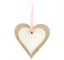 It's A Girl Double Heart Plaque
