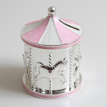 Silver Plated Carousel Money Box Pink