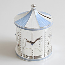 Silver Plated Carousel Money Box Blue