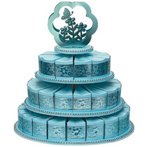 3 Tiers Cake Stand With 48 Cake Slice Boxes Blue