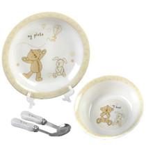 Button Corner Ceramic Baby Set Bowl Plate Fork Spoon