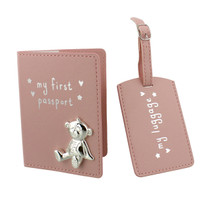 Button Corner PU My First Passport And Luggage Tag Pink