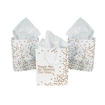 12 x Paper Medium Gold Wedding Dot Gift Bags