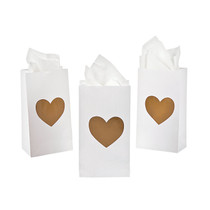 24 x Paper Mini Gold Heart Treat Bags