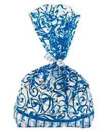 12 x Navy Blue Swirl Cellophane Bags