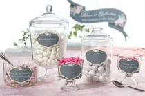 Set of 12 Black Pink Glass Cling Labels