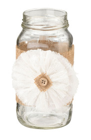 Set of 4 Burlap Bands With Flower